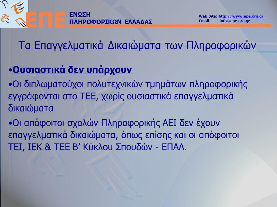 ΕΝΩΣΗ ΠΛΗΡΟΦΟΡΙΚΩΝ ΕΛΛΑΔΑΣ Web Site: http://www.epe.org.grhttp://www.epe.org.gr Email : info@epe.org.gr ΕΠΕ Τα Επαγγελματικά Δικαιώματα των Πληροφορικών Ιδιωτικός τομέας: μια εταιρία που αναλαμβάνει ένα έργο, δεν είναι υποχρεωμένη να έχει κάποιον ή κάποιους απόφοιτους ΑΕΙ να επιβλέψουν την μελέτη, την κατασκευή και να υπογράψουν την παράδοσή του Ανυπαρξία συλλογικών οργάνων Κακές συνθήκες εργασίας