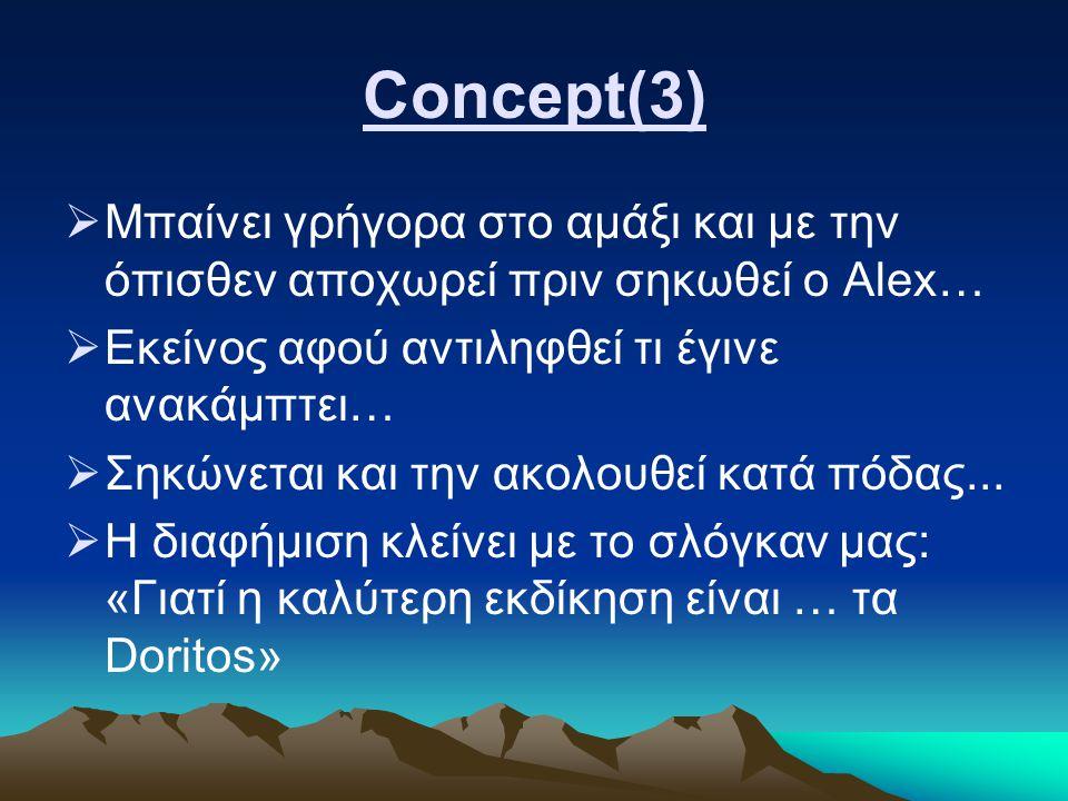 Concept(3)  Μπαίνει γρήγορα στο αμάξι και με την όπισθεν αποχωρεί πριν σηκωθεί ο Alex…  Εκείνος αφού αντιληφθεί τι έγινε ανακάμπτει…  Σηκώνεται και την ακολουθεί κατά πόδας...