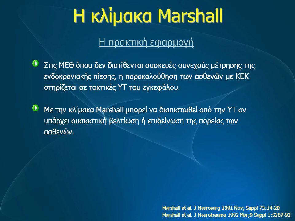 Η κλίμακα Marshall Η πρακτική εφαρμογή Στις ΜΕΘ όπου δεν διατίθενται συσκευές συνεχούς μέτρησης της ενδοκρανιακής πίεσης, η παρακολούθηση των ασθενών