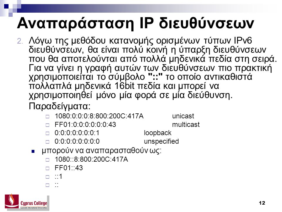 12 Αναπαράσταση IP διευθύνσεων 2.