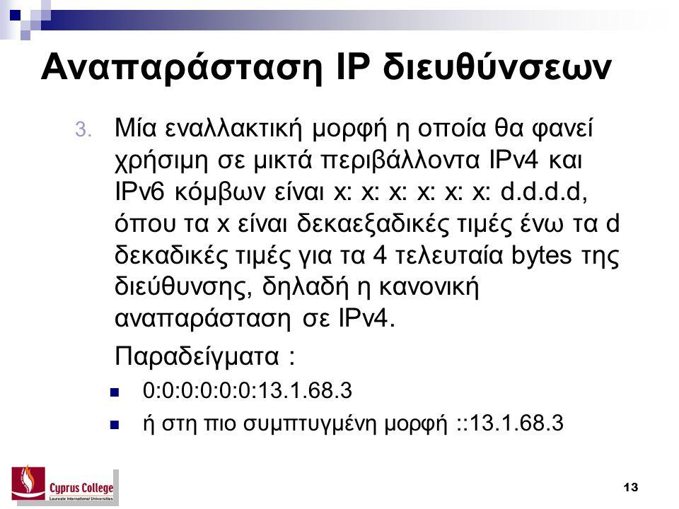 13 Αναπαράσταση IP διευθύνσεων 3.
