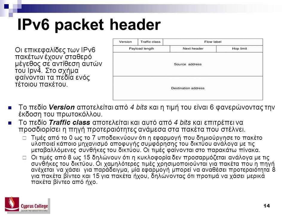 14 IPv6 packet header Το πεδίο Version αποτελείται από 4 bits και η τιμή του είναι 6 φανερώνοντας την έκδοση του πρωτοκόλλου. Το πεδίο Traffic class α