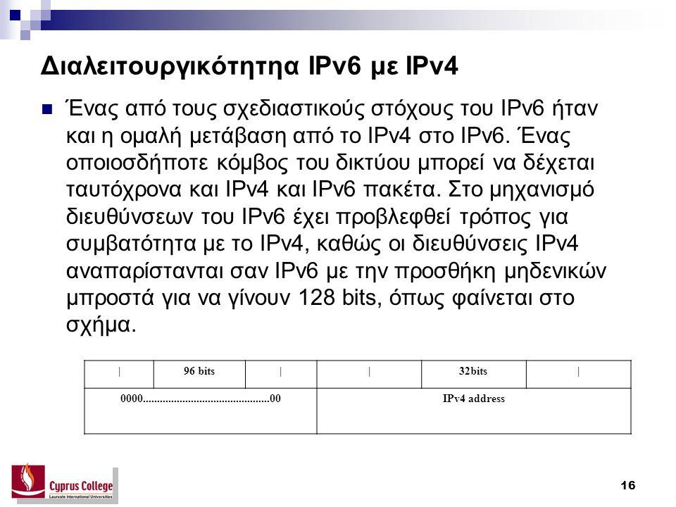 16 Διαλειτουργικότητηα IPv6 με IPv4 Ένας από τους σχεδιαστικούς στόχους του IPv6 ήταν και η ομαλή μετάβαση από το IPv4 στο IPv6.