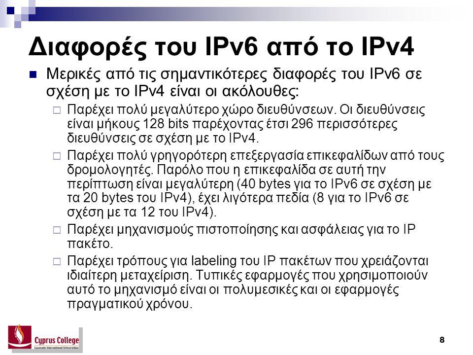 8 Διαφορές του IPv6 από το IPv4 Μερικές από τις σημαντικότερες διαφορές του IPv6 σε σχέση με το IPv4 είναι οι ακόλουθες:  Παρέχει πολύ μεγαλύτερο χώρο διευθύνσεων.