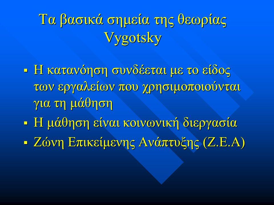 Vygotsky Τα ψυχολογικά εργαλεία της μάθησης είναι η γλώσσα, η γλώσσα, η γραφή, η γραφή, τα συστήματα αρίθμησης και τα συστήματα αρίθμησης και τα αναπα