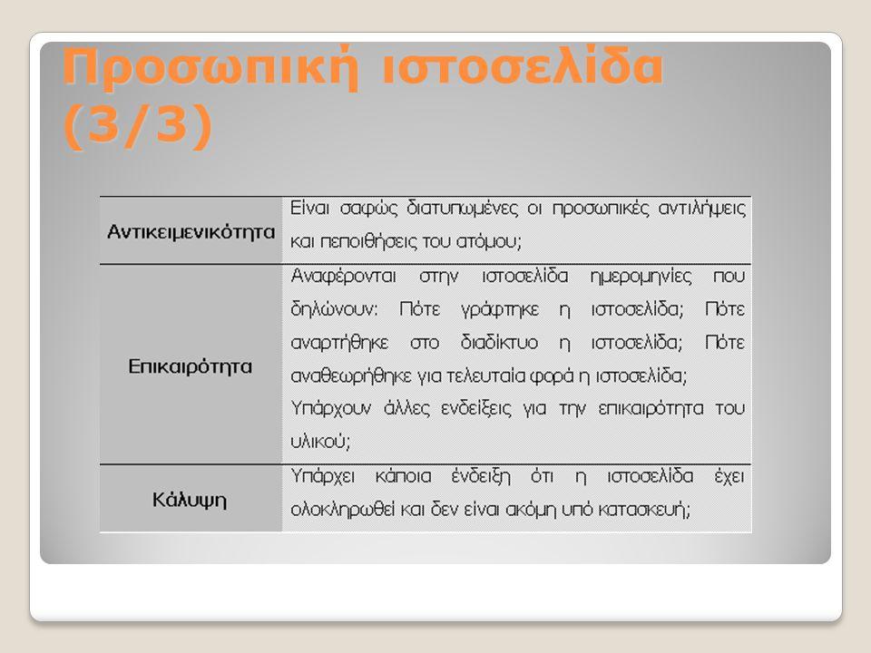 Προσωπική ιστοσελίδα (3/3)