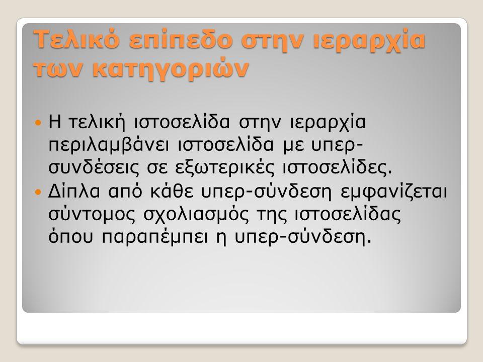 Τελικό επίπεδο στην ιεραρχία των κατηγοριών Η τελική ιστοσελίδα στην ιεραρχία περιλαμβάνει ιστοσελίδα με υπερ- συνδέσεις σε εξωτερικές ιστοσελίδες. Δί
