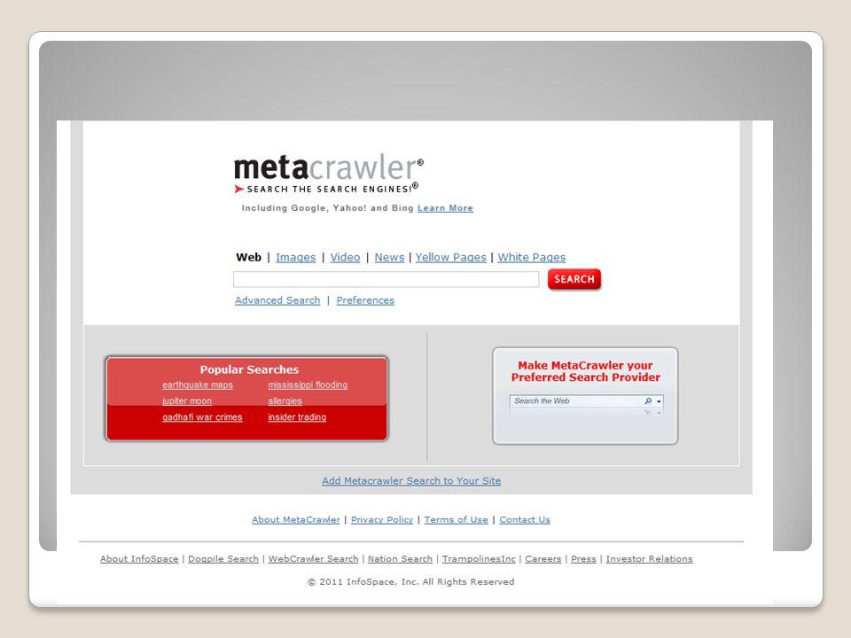 Ο δικτυακός τόπος του Metacrawler