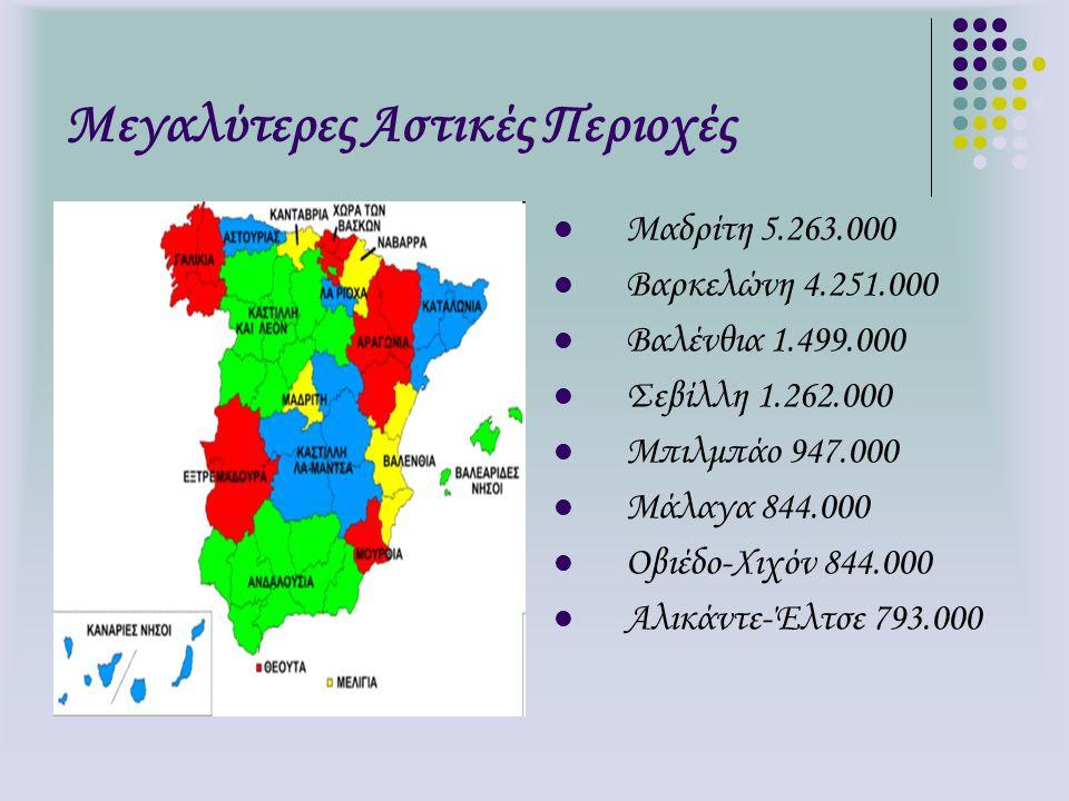 Μεγαλύτερες Αστικές Περιοχές Μαδρίτη 5.263.000 Βαρκελώνη 4.251.000 Βαλένθια 1.499.000 Σεβίλλη 1.262.000 Μπιλμπάο 947.000 Μάλαγα 844.000 Οβιέδο-Χιχόν 8