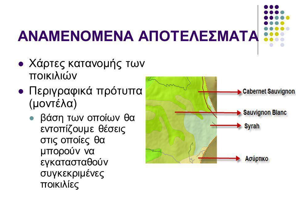 ΑΝΑΜΕΝΟΜΕΝΑ ΑΠΟΤΕΛΕΣΜΑΤΑ Χάρτες κατανομής των ποικιλιών Περιγραφικά πρότυπα (μοντέλα) βάση των οποίων θα εντοπίζουμε θέσεις στις οποίες θα μπορούν να εγκατασταθούν συγκεκριμένες ποικιλίες