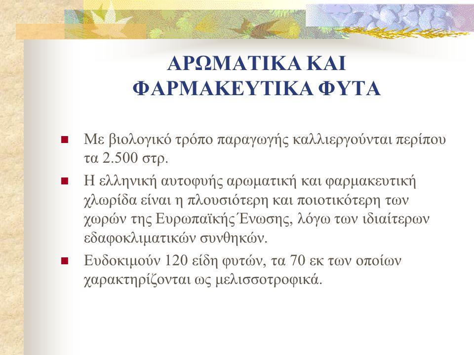 ΑΡΩΜΑΤΙΚΑ ΚΑΙ ΦΑΡΜΑΚΕΥΤΙΚΑ ΦΥΤΑ Με βιολογικό τρόπο παραγωγής καλλιεργούνται περίπου τα 2.500 στρ. Η ελληνική αυτοφυής αρωματική και φαρμακευτική χλωρί