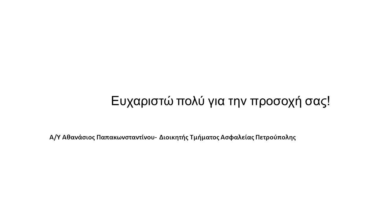 Ευχαριστώ πολύ για την προσοχή σας! Α/Υ Αθανάσιος Παπακωνσταντίνου- Διοικητής Τμήματος Ασφαλείας Πετρούπολης
