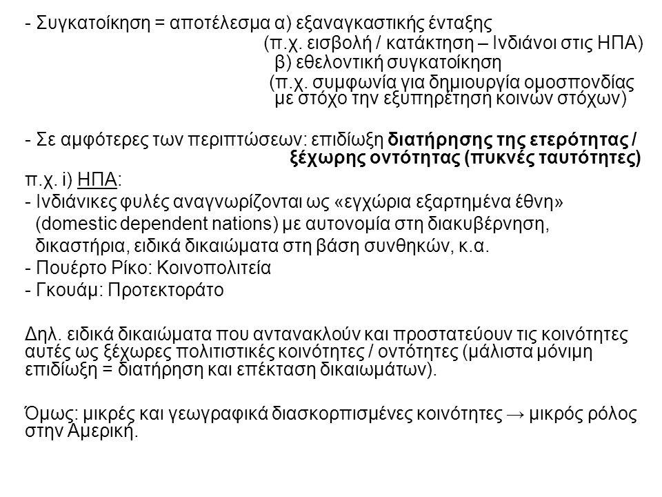 - Συγκατοίκηση = αποτέλεσμα α) εξαναγκαστικής ένταξης (π.χ.