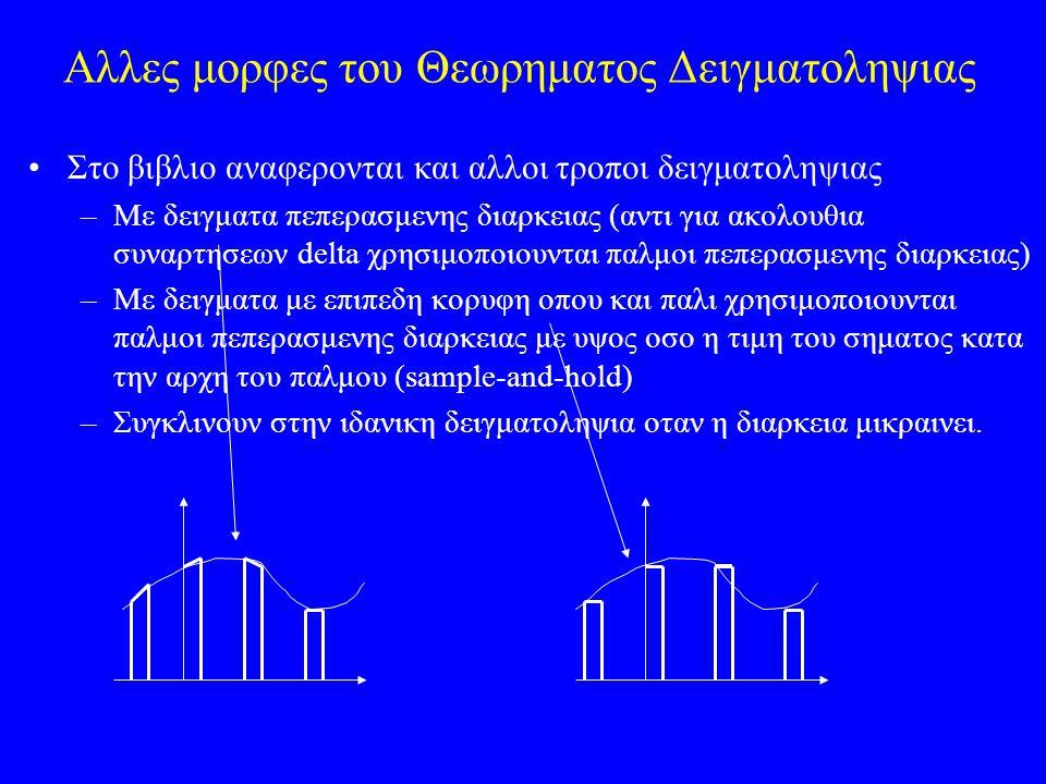 Αλλες μορφες του Θεωρηματος Δειγματοληψιας Στο βιβλιο αναφερονται και αλλοι τροποι δειγματοληψιας –Με δειγματα πεπερασμενης διαρκειας (αντι για ακολουθια συναρτησεων delta χρησιμοποιουνται παλμοι πεπερασμενης διαρκειας) –Με δειγματα με επιπεδη κορυφη οπου και παλι χρησιμοποιουνται παλμοι πεπερασμενης διαρκειας με υψος οσο η τιμη του σηματος κατα την αρχη του παλμου (sample-and-hold) –Συγκλινουν στην ιδανικη δειγματοληψια οταν η διαρκεια μικραινει.