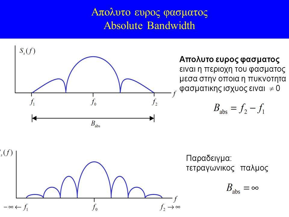 Απολυτο ευρος φασματος Absolute Bandwidth Απολυτο ευρος φασματος ειναι η περιοχη του φασματος μεσα στην οποια η πυκνοτητα φασματικης ισχυος ειναι  0 Παραδειγμα: τετραγωνικος παλμος
