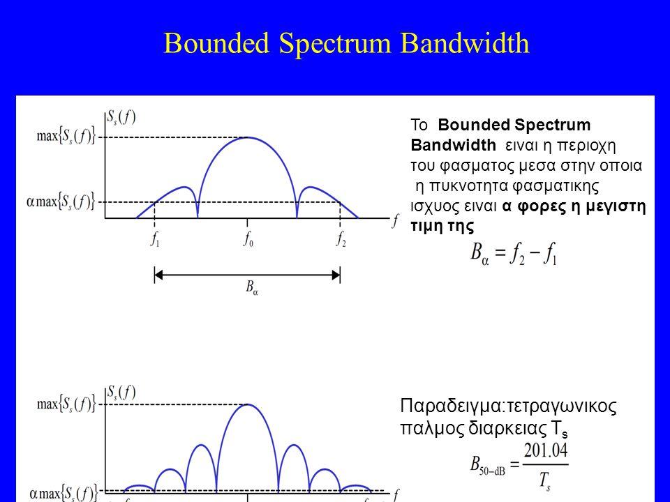 Bounded Spectrum Bandwidth To Bounded Spectrum Bandwidth ειναι η περιοχη του φασματος μεσα στην οποια η πυκνοτητα φασματικης ισχυος ειναι α φορες η μεγιστη τιμη της Παραδειγμα:τετραγωνικος παλμος διαρκειας Τ s