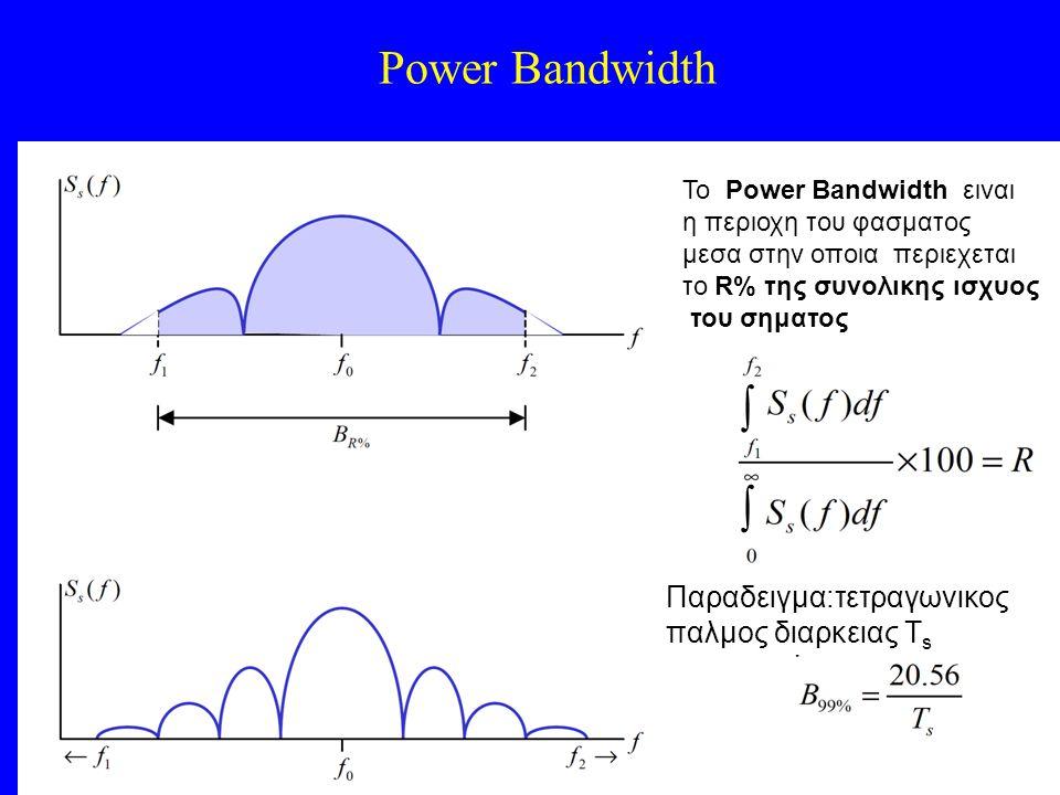 Power Bandwidth To Power Bandwidth ειναι η περιοχη του φασματος μεσα στην οποια περιεχεται το R% της συνολικης ισχυος του σηματος   To Power Bandwidth ειναι η περιοχη του φασματος μεσα στην οποια περιεχεται το R% της συνολικης ισχυος του σηματος   Παραδειγμα:τετραγωνικος παλμος διαρκειας Τ s