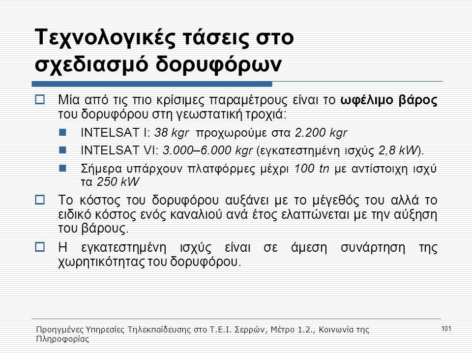 Προηγμένες Υπηρεσίες Τηλεκπαίδευσης στο Τ.Ε.Ι. Σερρών, Μέτρο 1.2., Κοινωνία της Πληροφορίας 101 Τεχνολογικές τάσεις στο σχεδιασμό δορυφόρων  Μία από