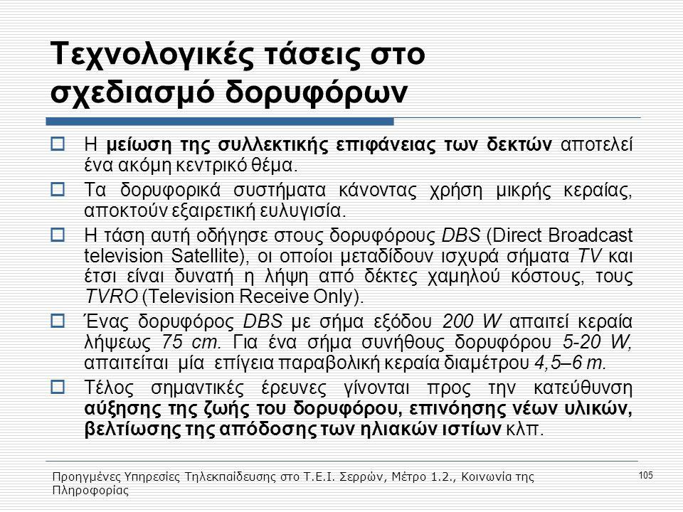 Προηγμένες Υπηρεσίες Τηλεκπαίδευσης στο Τ.Ε.Ι. Σερρών, Μέτρο 1.2., Κοινωνία της Πληροφορίας 105 Τεχνολογικές τάσεις στο σχεδιασμό δορυφόρων  Η μείωση