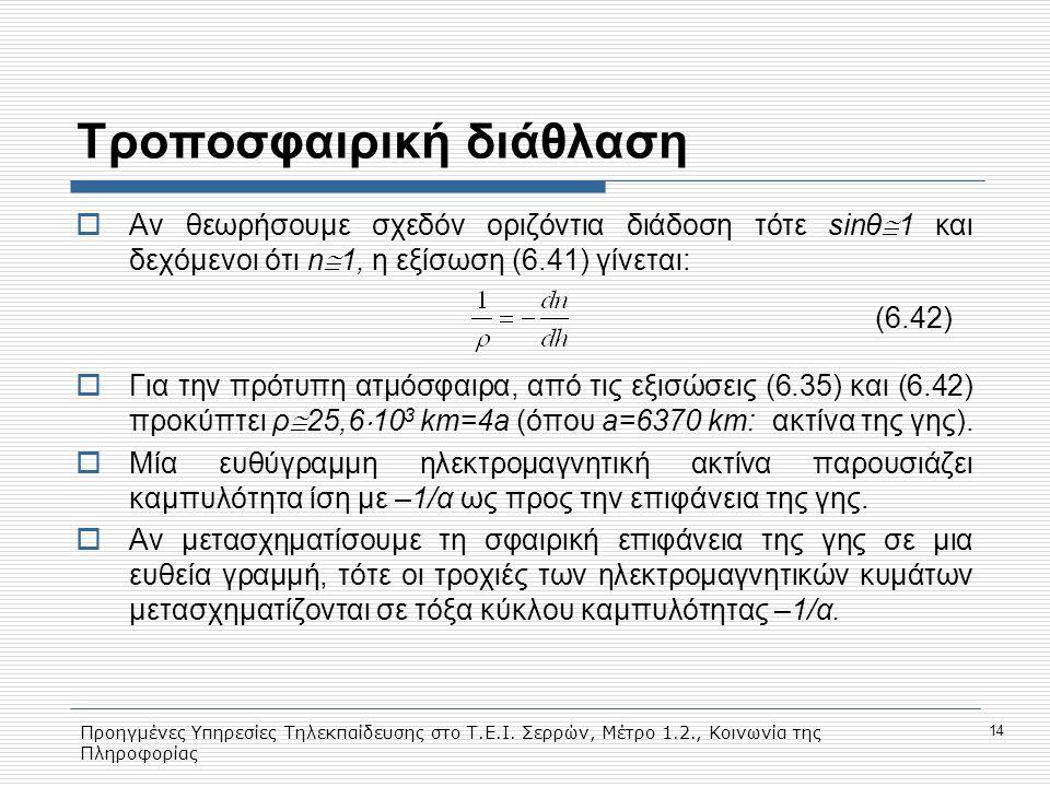 Προηγμένες Υπηρεσίες Τηλεκπαίδευσης στο Τ.Ε.Ι. Σερρών, Μέτρο 1.2., Κοινωνία της Πληροφορίας 14 Tροποσφαιρική διάθλαση  Aν θεωρήσουμε σχεδόν οριζόντια