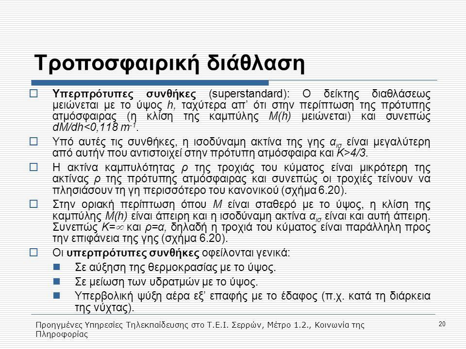 Προηγμένες Υπηρεσίες Τηλεκπαίδευσης στο Τ.Ε.Ι. Σερρών, Μέτρο 1.2., Κοινωνία της Πληροφορίας 20 Tροποσφαιρική διάθλαση  Υπερπρότυπες συνθήκες (superst