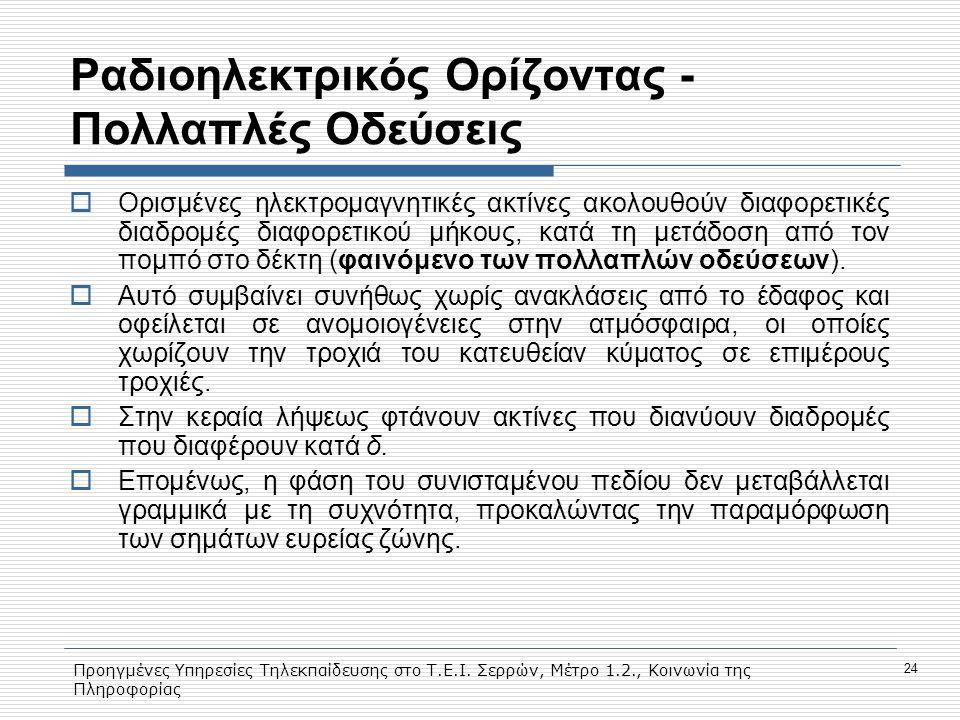 Προηγμένες Υπηρεσίες Τηλεκπαίδευσης στο Τ.Ε.Ι. Σερρών, Μέτρο 1.2., Κοινωνία της Πληροφορίας 24 Ραδιοηλεκτρικός Ορίζοντας - Πολλαπλές Οδεύσεις  Ορισμέ
