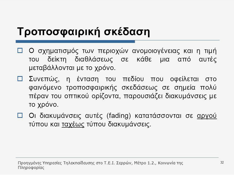 Προηγμένες Υπηρεσίες Τηλεκπαίδευσης στο Τ.Ε.Ι. Σερρών, Μέτρο 1.2., Κοινωνία της Πληροφορίας 32 Tροποσφαιρική σκέδαση  Ο σχηματισμός των περιοχών ανομ