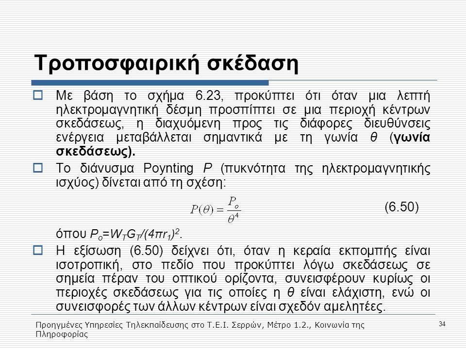 Προηγμένες Υπηρεσίες Τηλεκπαίδευσης στο Τ.Ε.Ι. Σερρών, Μέτρο 1.2., Κοινωνία της Πληροφορίας 34 Tροποσφαιρική σκέδαση  Με βάση το σχήμα 6.23, προκύπτε