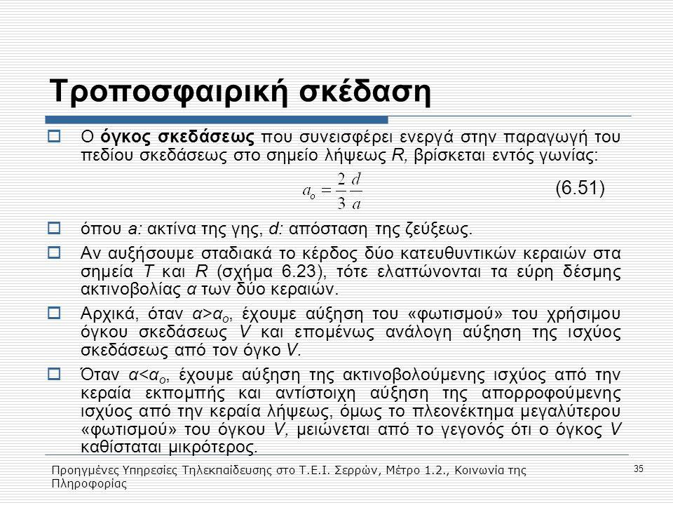 Προηγμένες Υπηρεσίες Τηλεκπαίδευσης στο Τ.Ε.Ι. Σερρών, Μέτρο 1.2., Κοινωνία της Πληροφορίας 35 Tροποσφαιρική σκέδαση  Ο όγκος σκεδάσεως που συνεισφέρ