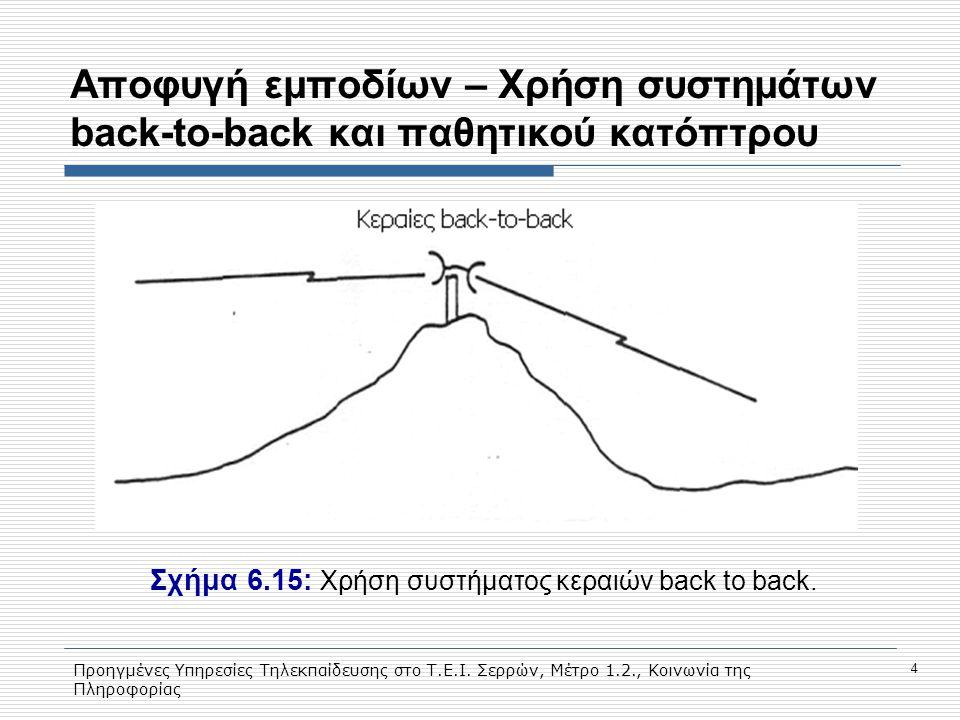Προηγμένες Υπηρεσίες Τηλεκπαίδευσης στο Τ.Ε.Ι. Σερρών, Μέτρο 1.2., Κοινωνία της Πληροφορίας 4 Aποφυγή εμποδίων – Χρήση συστημάτων back-to-back και παθ