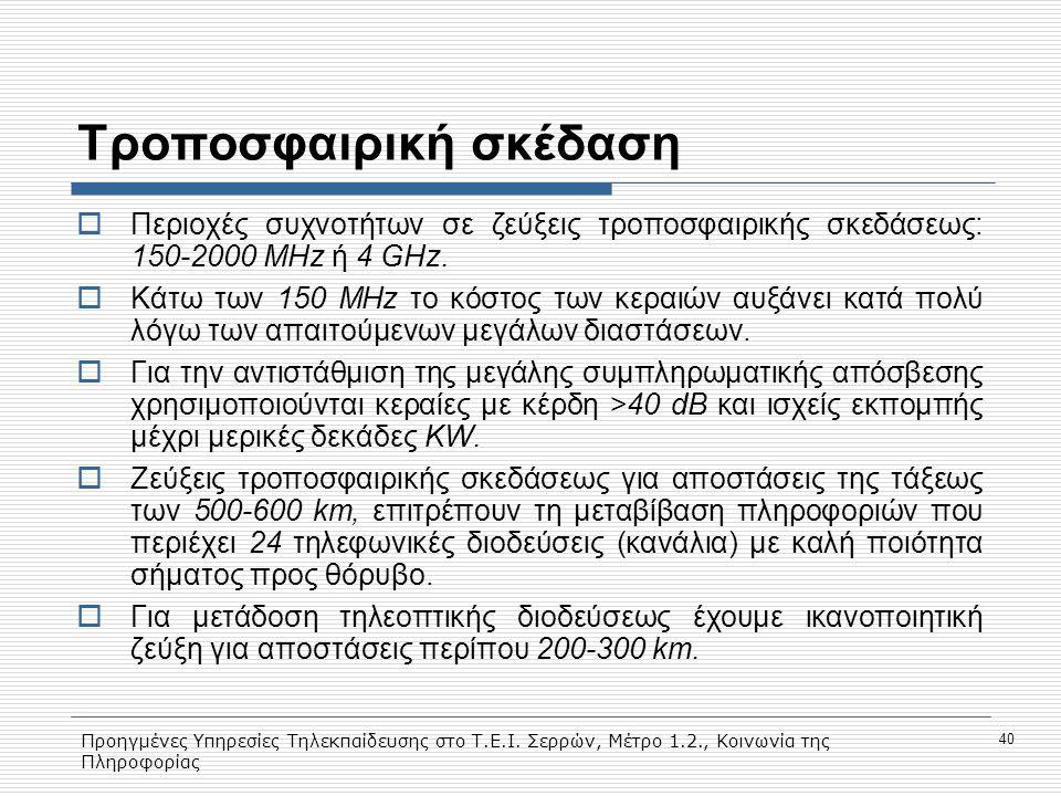 Προηγμένες Υπηρεσίες Τηλεκπαίδευσης στο Τ.Ε.Ι. Σερρών, Μέτρο 1.2., Κοινωνία της Πληροφορίας 40 Tροποσφαιρική σκέδαση  Περιοχές συχνοτήτων σε ζεύξεις