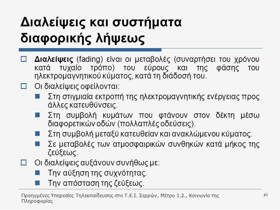 Προηγμένες Υπηρεσίες Τηλεκπαίδευσης στο Τ.Ε.Ι. Σερρών, Μέτρο 1.2., Κοινωνία της Πληροφορίας 41 Διαλείψεις και συστήματα διαφορικής λήψεως  Διαλείψεις