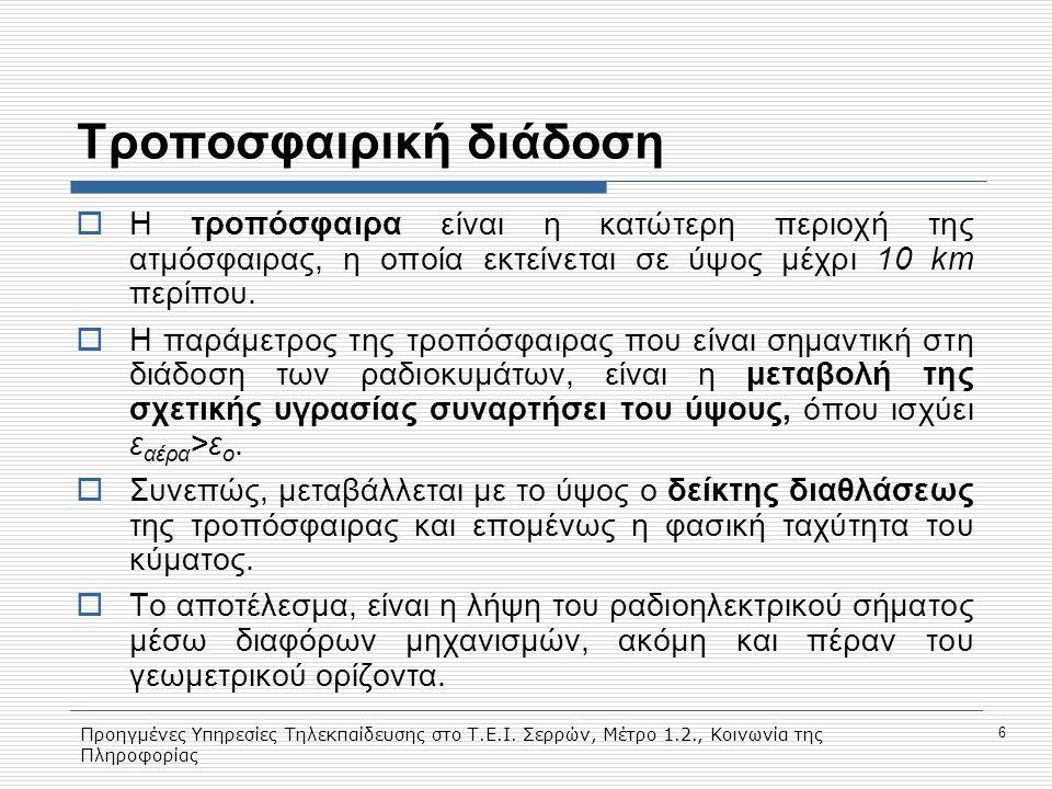 Προηγμένες Υπηρεσίες Τηλεκπαίδευσης στο Τ.Ε.Ι. Σερρών, Μέτρο 1.2., Κοινωνία της Πληροφορίας 6 Τροποσφαιρική διάδοση  Η τροπόσφαιρα είναι η κατώτερη π