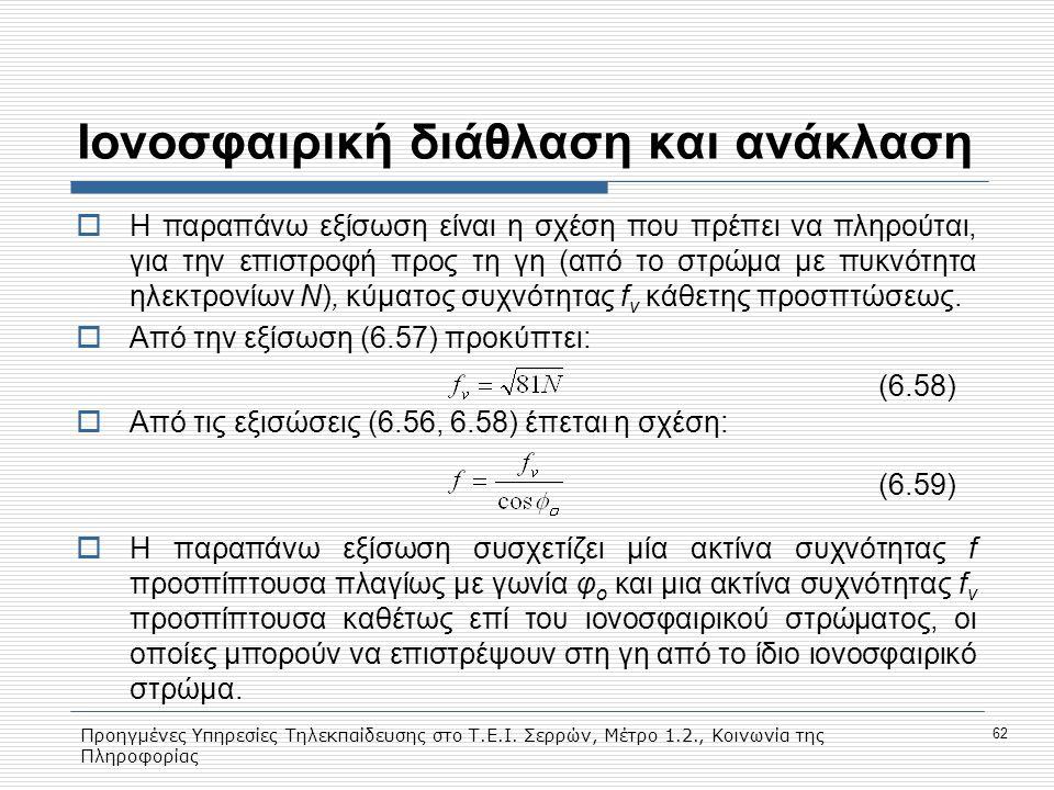 Προηγμένες Υπηρεσίες Τηλεκπαίδευσης στο Τ.Ε.Ι. Σερρών, Μέτρο 1.2., Κοινωνία της Πληροφορίας 62 Ιονοσφαιρική διάθλαση και ανάκλαση  H παραπάνω εξίσωση