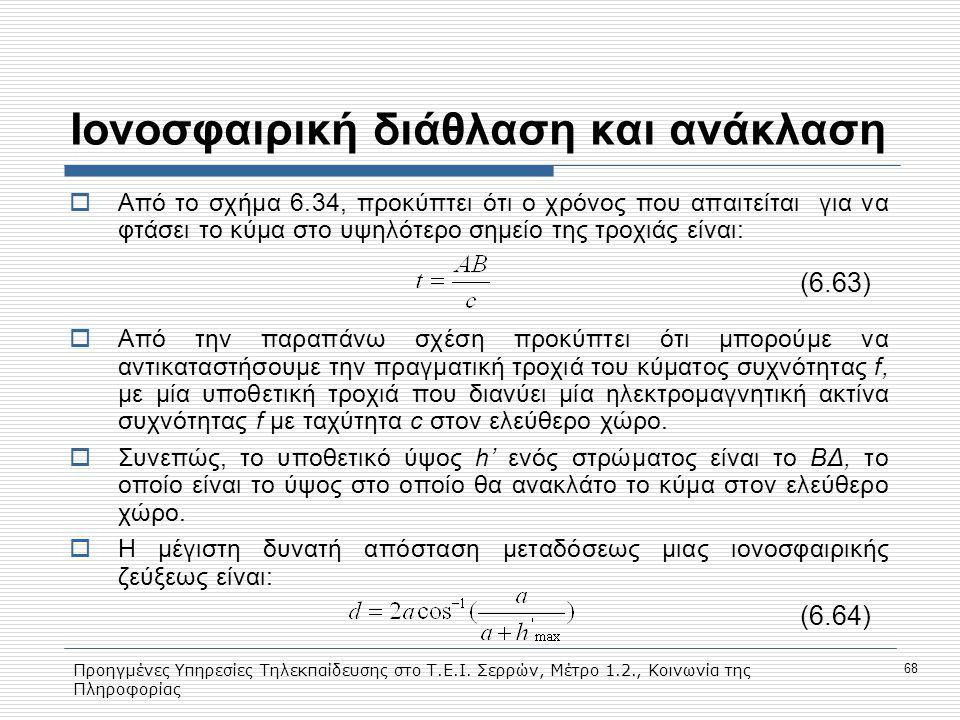 Προηγμένες Υπηρεσίες Τηλεκπαίδευσης στο Τ.Ε.Ι. Σερρών, Μέτρο 1.2., Κοινωνία της Πληροφορίας 68 Ιονοσφαιρική διάθλαση και ανάκλαση  Από το σχήμα 6.34,