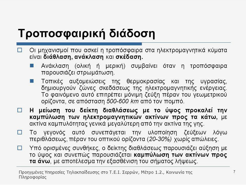 Προηγμένες Υπηρεσίες Τηλεκπαίδευσης στο Τ.Ε.Ι. Σερρών, Μέτρο 1.2., Κοινωνία της Πληροφορίας 7 Τροποσφαιρική διάδοση  Οι μηχανισμοί που ασκεί η τροπόσ