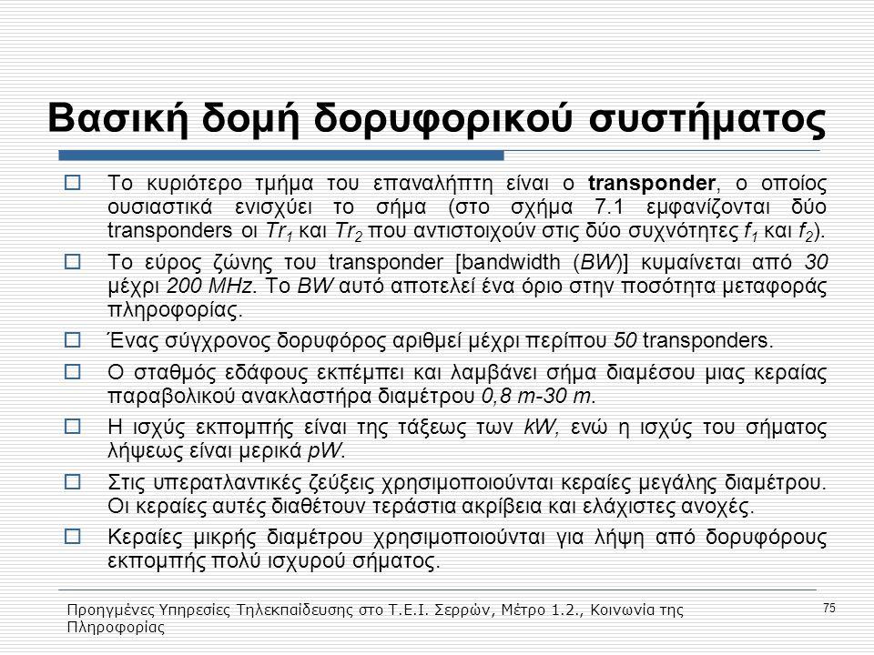 Προηγμένες Υπηρεσίες Τηλεκπαίδευσης στο Τ.Ε.Ι. Σερρών, Μέτρο 1.2., Κοινωνία της Πληροφορίας 75 Βασική δομή δορυφορικού συστήματος  Το κυριότερο τμήμα