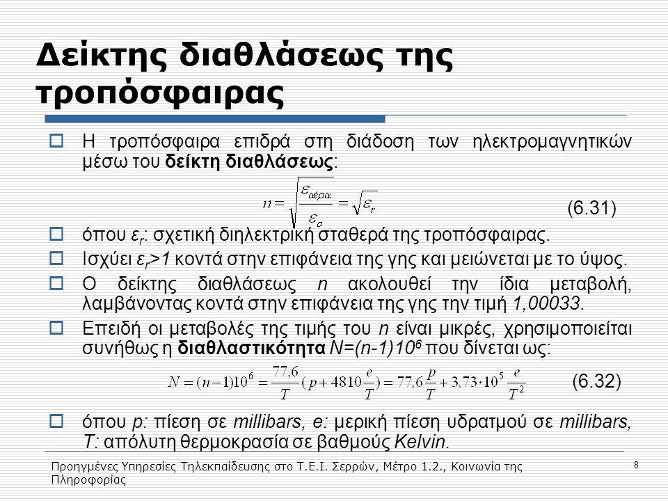 Προηγμένες Υπηρεσίες Τηλεκπαίδευσης στο Τ.Ε.Ι. Σερρών, Μέτρο 1.2., Κοινωνία της Πληροφορίας 8 Δείκτης διαθλάσεως της τροπόσφαιρας  Η τροπόσφαιρα επιδ