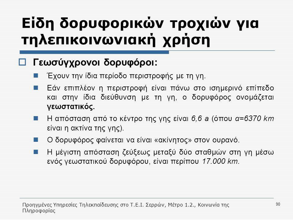 Προηγμένες Υπηρεσίες Τηλεκπαίδευσης στο Τ.Ε.Ι. Σερρών, Μέτρο 1.2., Κοινωνία της Πληροφορίας 90 Eίδη δορυφορικών τροχιών για τηλεπικοινωνιακή χρήση  Γ