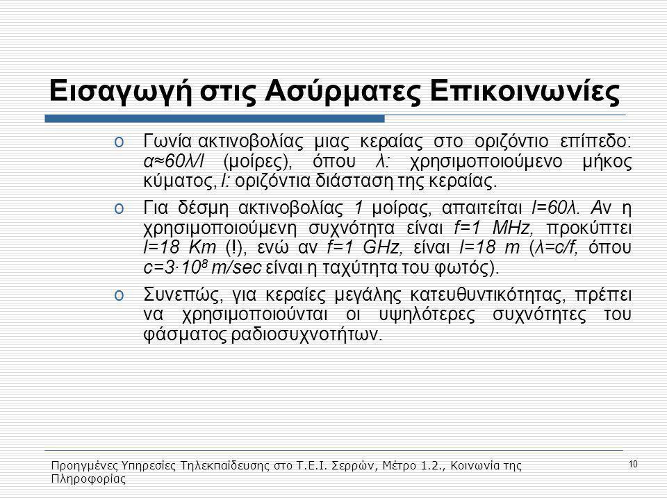 Προηγμένες Υπηρεσίες Τηλεκπαίδευσης στο Τ.Ε.Ι. Σερρών, Μέτρο 1.2., Κοινωνία της Πληροφορίας 10 Eισαγωγή στις Ασύρματες Επικοινωνίες oΓωνία ακτινοβολία