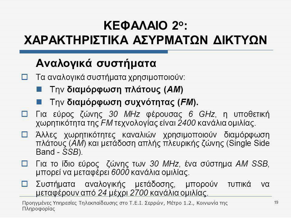 Προηγμένες Υπηρεσίες Τηλεκπαίδευσης στο Τ.Ε.Ι. Σερρών, Μέτρο 1.2., Κοινωνία της Πληροφορίας 19 ΚΕΦΑΛΑΙΟ 2 ο : ΧΑΡΑΚΤΗΡΙΣΤΙΚΑ ΑΣΥΡΜΑΤΩΝ ΔΙΚΤΥΩΝ Aναλογι
