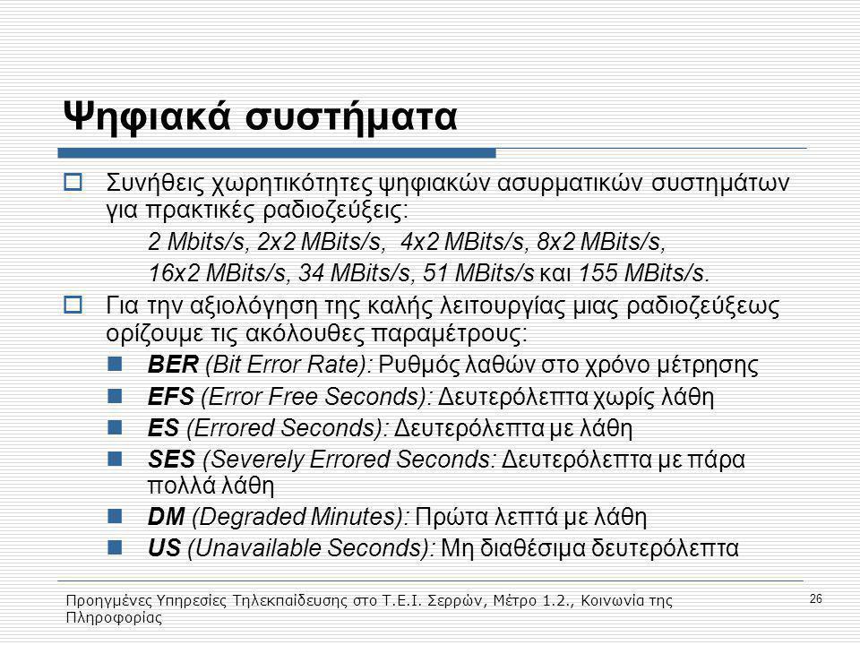 Προηγμένες Υπηρεσίες Τηλεκπαίδευσης στο Τ.Ε.Ι. Σερρών, Μέτρο 1.2., Κοινωνία της Πληροφορίας 26 Ψηφιακά συστήματα  Συνήθεις χωρητικότητες ψηφιακών ασυ