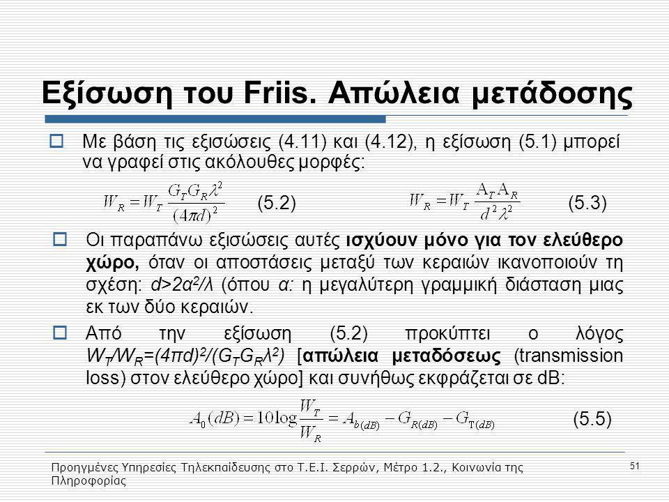Προηγμένες Υπηρεσίες Τηλεκπαίδευσης στο Τ.Ε.Ι. Σερρών, Μέτρο 1.2., Κοινωνία της Πληροφορίας 51 Εξίσωση του Friis. Aπώλεια μετάδοσης  Με βάση τις εξισ