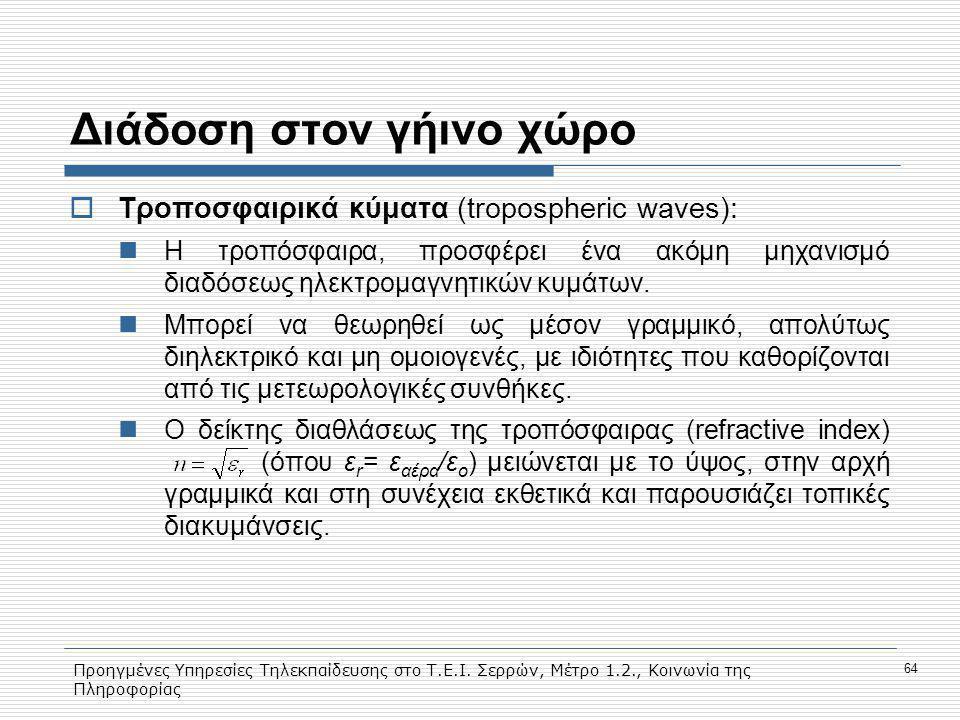 Προηγμένες Υπηρεσίες Τηλεκπαίδευσης στο Τ.Ε.Ι. Σερρών, Μέτρο 1.2., Κοινωνία της Πληροφορίας 64 Διάδοση στον γήινο χώρο  Τροποσφαιρικά κύματα (troposp