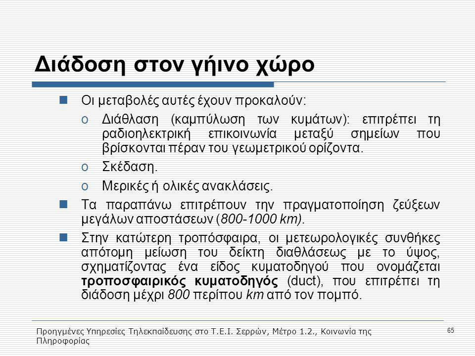 Προηγμένες Υπηρεσίες Τηλεκπαίδευσης στο Τ.Ε.Ι. Σερρών, Μέτρο 1.2., Κοινωνία της Πληροφορίας 65 Διάδοση στον γήινο χώρο Οι μεταβολές αυτές έχουν προκαλ