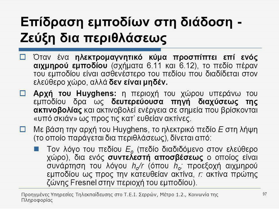 Προηγμένες Υπηρεσίες Τηλεκπαίδευσης στο Τ.Ε.Ι. Σερρών, Μέτρο 1.2., Κοινωνία της Πληροφορίας 97 Eπίδραση εμποδίων στη διάδοση - Ζεύξη δια περιθλάσεως 
