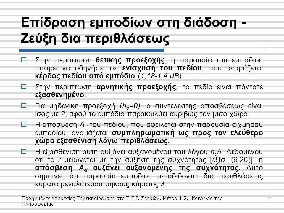 Προηγμένες Υπηρεσίες Τηλεκπαίδευσης στο Τ.Ε.Ι. Σερρών, Μέτρο 1.2., Κοινωνία της Πληροφορίας 99 Eπίδραση εμποδίων στη διάδοση - Ζεύξη δια περιθλάσεως 