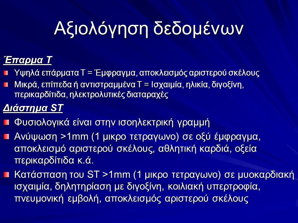 Αξιολόγηση δεδομένων Έπαρμα Τ Υψηλά επάρματα Τ = Έμφραγμα, αποκλεισμός αριστερού σκέλους Μικρά, επίπεδα ή αντιστραμμένα Τ = Ισχαιμία, ηλικία, διγοξίνη, περικαρδίτιδα, ηλεκτρολυτικές διαταραχές Διάστημα ST Φυσιολογικά είναι στην ισοηλεκτρική γραμμή Ανύψωση >1mm (1 μικρο τετραγωνο) σε οξύ έμφραγμα, αποκλεισμό αριστερού σκέλους, αθλητική καρδιά, οξεία περικαρδίτιδα κ.ά.