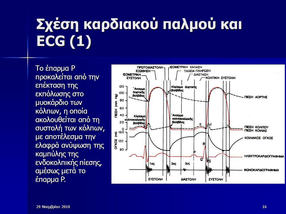 29 Νοεμβρίου 201016 Σχέση καρδιακού παλμού και ECG (1) Το έπαρμα P προκαλείται από την επέκταση της εκπόλωσης στο μυοκάρδιο των κόλπων, η οποία ακολου