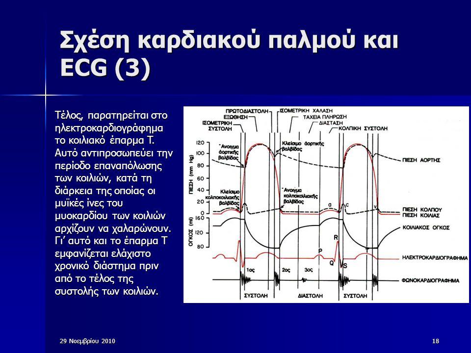 29 Νοεμβρίου 201018 Σχέση καρδιακού παλμού και ECG (3) Τέλος, παρατηρείται στο ηλεκτροκαρδιογράφημα το κοιλιακό έπαρμα T. Αυτό αντιπροσωπεύει την περί